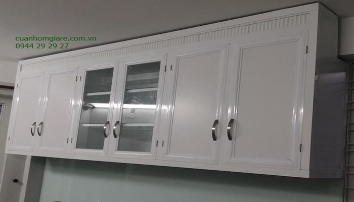 tủ bếp nhôm treo tường sơn tĩnh điện
