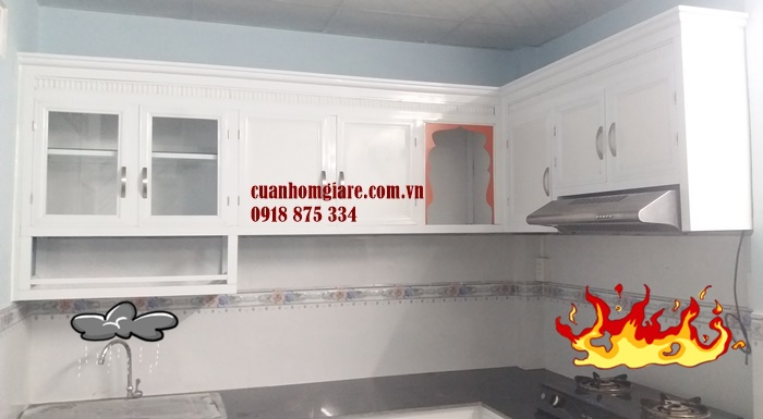 tủ bếp nhôm kính sơn tĩnh điện hcm
